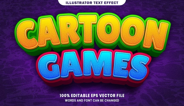 Jeux de dessin animé effet de style de texte modifiable 3d