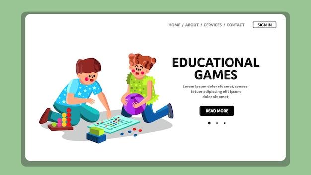 Jeux éducatifs jouez à un petit garçon et une fille