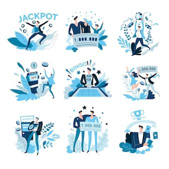Jeux de hasard et caino, jackpot gagnant, loterie et bingo