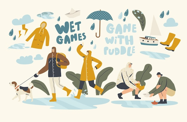 Jeux humides avec des flaques d'eau en automne pluvieux ou au printemps, météo. heureux passants trempés portant des capes avec des parapluies marchant sous la pluie, l'eau coule du ciel. illustration vectorielle de personnes linéaires