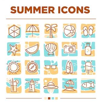 Jeux d'icônes d'été uniques