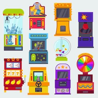 Jeux de jeux d'arcade de machine de jeu dans un casino où un joueur ou un joueur de gamesome parie dans l'illustration de machines informatiques de jeu isolé sur fond blanc
