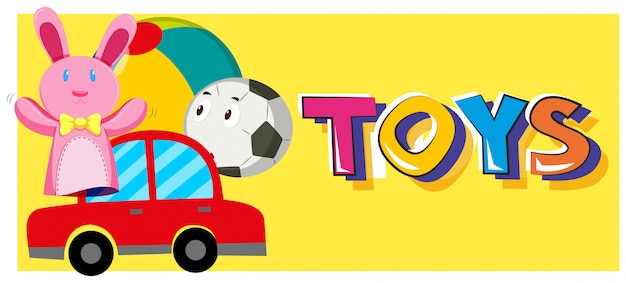 Des jeux de mots et différents types de jouets