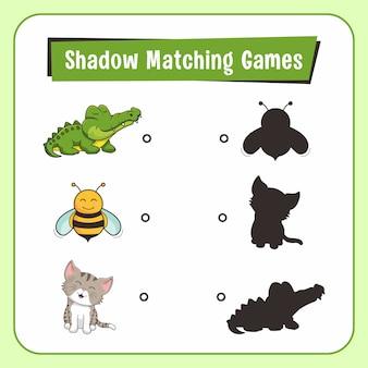 Jeux d'ombres correspondants animaux alligator bee cat