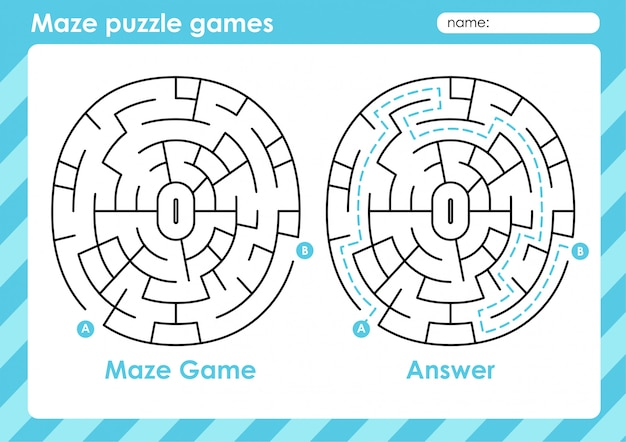 Jeux de puzzle de labyrinthe - activité pour les enfants: cercle