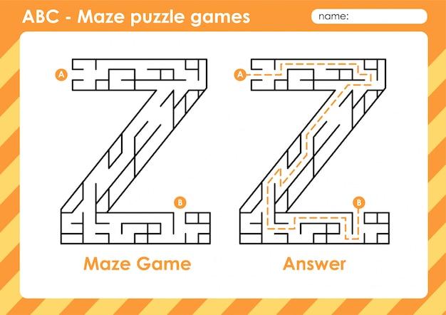 Jeux de puzzle de labyrinthe - alphabet a - activité z pour les enfants: lettre z