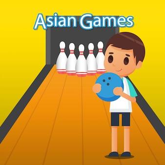 Jeux de quilles sur illustration de jeux asiatiques
