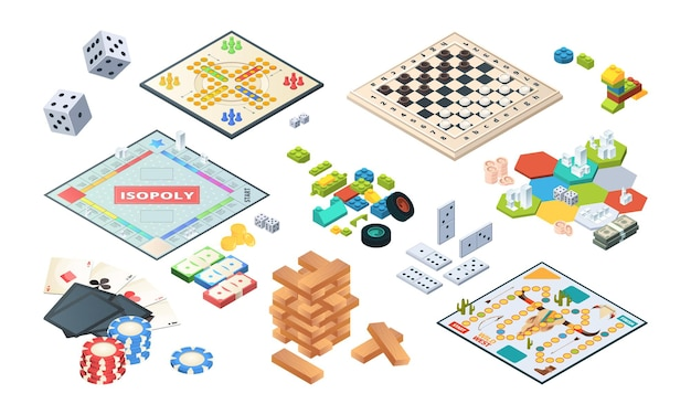 Jeux de société. adultes jeux amusants cartes isométriques backgammon échecs mahjong vecteur. illustration jeu de société isométrique 3d, divertissement de récréation