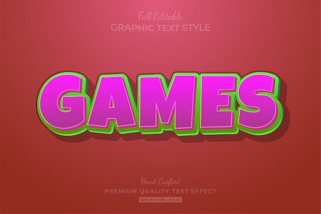 Jeux style de police d'effet de texte modifiable de dessin animé