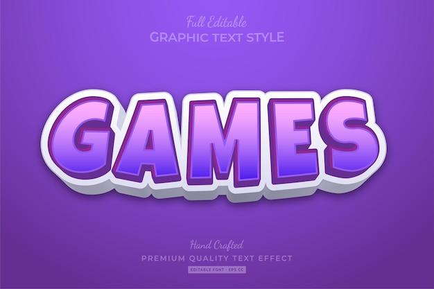 Jeux style de police d'effet de texte modifiable pourpre de dessin animé