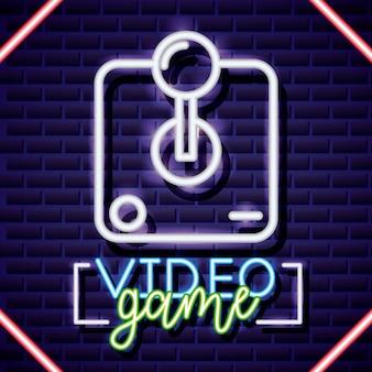 Jeux vidéo au néon et illustration du contrôle au néon