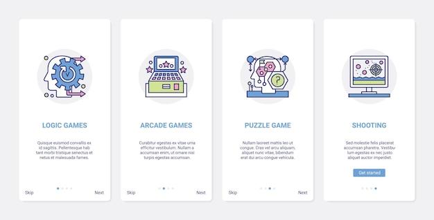 Jeux vidéo genres de divertissement ui ux ensemble d'écran de page d'application mobile d'intégration