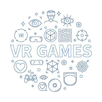 Jeux vr icône ronde illustration dans le style de ligne mince