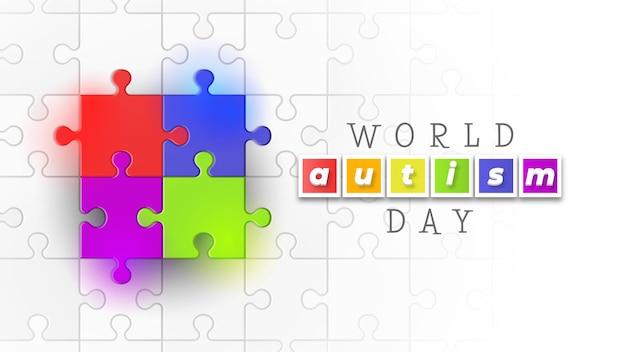 Jigsaw puzzle journée mondiale de l'autisme avec différentes couleurs