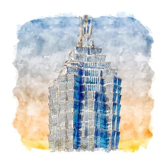 Jin mao tower chine aquarelle croquis illustration dessinée à la main
