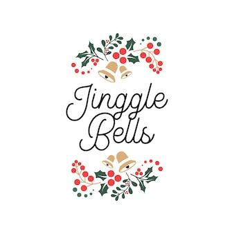 Jinggle bells lettrage citations de typographie avec ornement floral