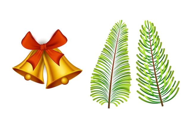 Jingle bells d'or avec des feuilles de sapin sur fond blanc.