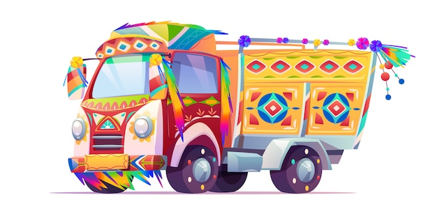 Jingle truck, transport orné d'indiens ou du pakistan