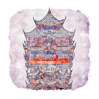 Jiutian tower chine aquarelle croquis illustration dessinée à la main