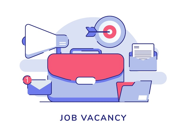 Job vacant concept valise notification par courrier électronique mégaphone flèche cible lettre dossier blanc fond isolé