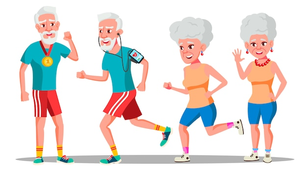 Jogger old people. jogger couple. formation en santé active