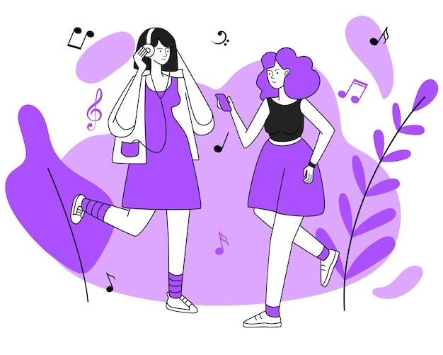 Joggeurs féminins avec illustration de casque. repos actif, promenade, marche, activité, loisirs. jeunes auditeurs de musique, femmes avec écouteurs isolés caractères de contour plat