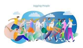 Jogging en plein air personnes vector illustration scène