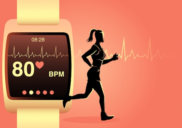 Jogging femme avec montre intelligente