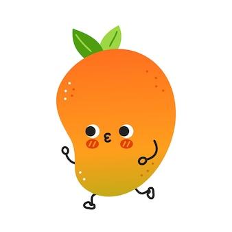 Jogging de fruits de mangue drôle mignon. icône d'illustration de personnage kawaii cartoon dessiné à la main de vecteur. isolé sur fond blanc. concept de personnage de fruit de bébé exotique mangue
