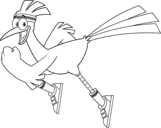 Jogging de personnage de dessin animé oiseau roadrunner noir et blanc. illustration isolé sur fond blanc