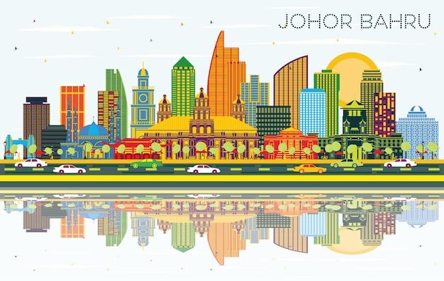 Johor bahru malaisie sur les toits de la ville avec des bâtiments de couleur bleu ciel et réflexions vector illustration