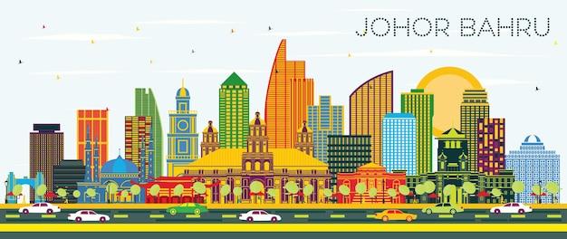 Johor bahru malaysia city skyline avec bâtiments de couleur et ciel bleu. illustration vectorielle. voyage d'affaires et tourisme illustration avec l'architecture moderne. paysage urbain de johor bahru avec points de repère.