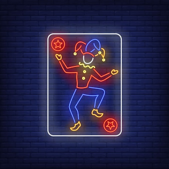 Joker carte à jouer au néon.