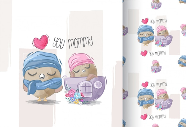 Joli bébé chouette et maman avec un motif sans soudure