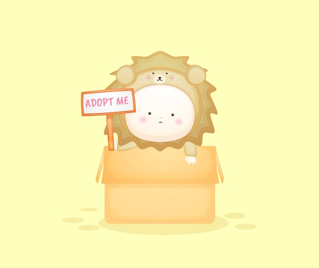Joli bébé en costume de lion à l'intérieur de la boîte avec signe de texte adoptez-moi. illustration de dessin animé de mascotte vecteur premium