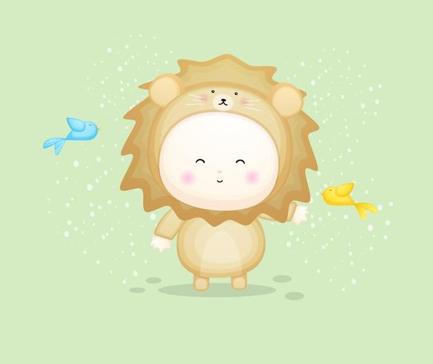 Joli bébé en costume de lion jouant avec un oiseau. illustration de dessin animé de mascotte vecteur premium