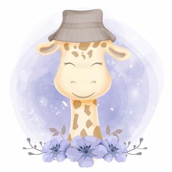 Joli bébé girafe coiffé d'un chapeau