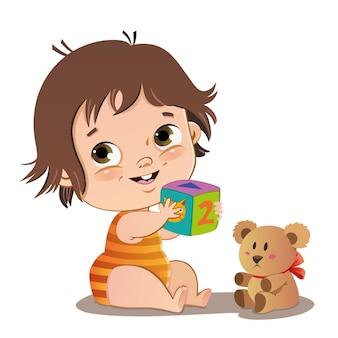 Joli bébé jouant avec des jouets illustration vectorielle