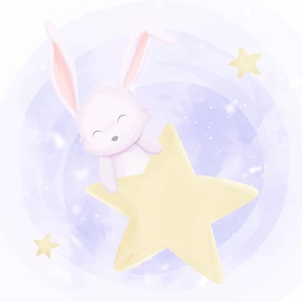 Joli bébé lapin jouant étoiles