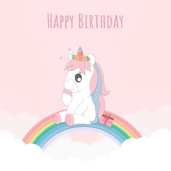 Joli bébé licorne joyeux anniversaire