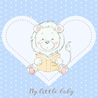 Joli bébé lion avec caricature de livre