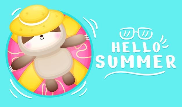 Joli bébé paresseux allongé sur une bouée avec une bannière de voeux d'été