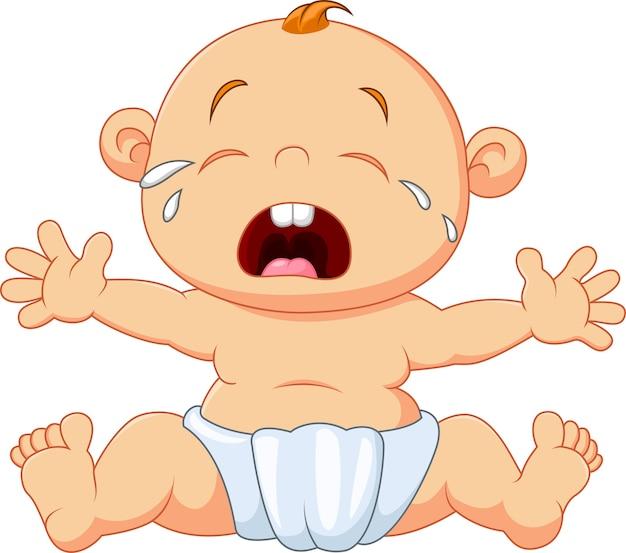 Joli bébé qui pleure isolé sur fond blanc
