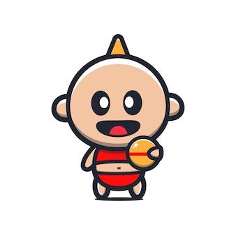 Joli bébé tenant illustration de dessin animé de balle