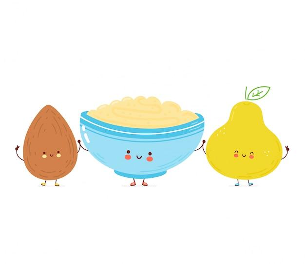 Joli bol heureux de porridge d'avoine, d'amande et de poire. illustration de style dessiné à la main de personnage de dessin animé. concept de tasse de petit-déjeuner à l'avoine