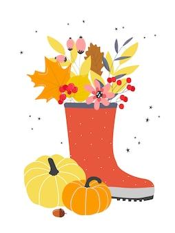 Un joli bouquet de feuilles d'automne et de baies dans des bottes en caoutchouc. illustration dans un style plat