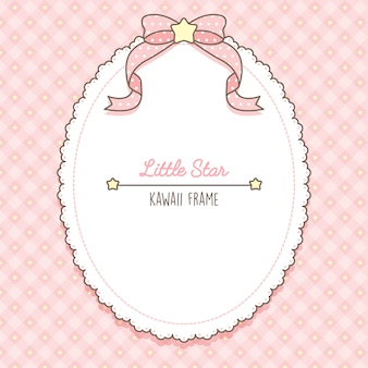 Joli cadre d'étoiles et de lacets roses kawaii
