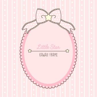 Joli cadre rose kawaii avec des points et des lacets