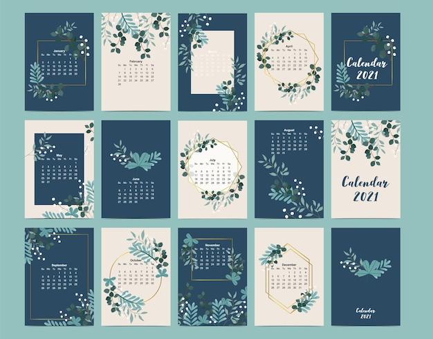 Joli calendrier 2021 avec feuille, fleur, naturel.