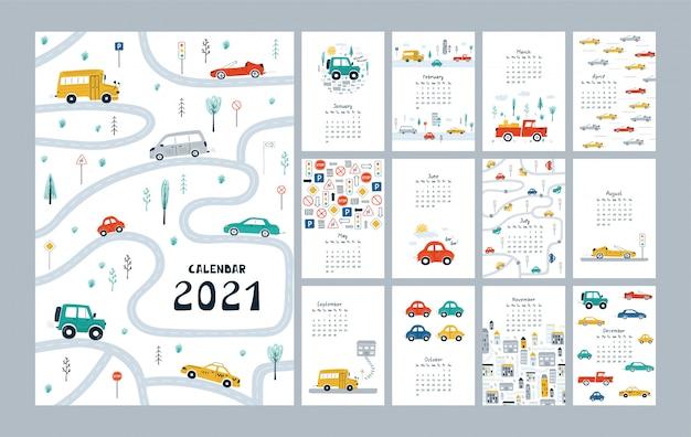 Joli calendrier 2021 avec voitures, ville, carte routière. modèle de planificateur enfantin